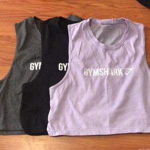 BUNDLE: 3 gym shark crop muscle tee NEVER WORN